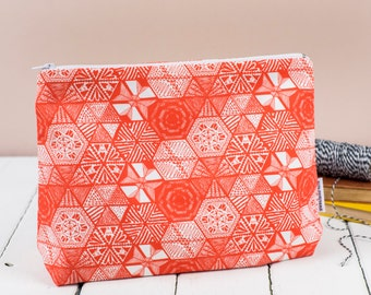 Hexies Coral Toiletry Bag, hand drawn doodle design cosmetic bag