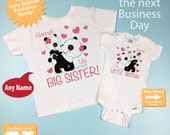 Personalized Big Sister Little Sister Outfit, Panda Bears Shirt, Big Sister and Little Sister Onesie Outfit (03102012b)