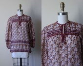 Vintage Indian Cotton Top - 1970s India Festival Tunic Gauze Cotton Blouse Ecru Mustard Wine Indigo Floral w Beaded Ties S - Deadstock