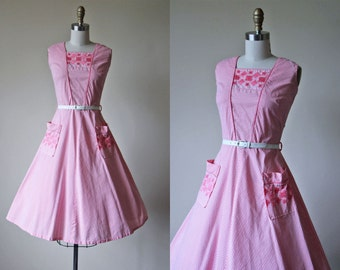 1950s Dress - Vintage 50s Dress - Candy Pink Striped Embroidered Full Skirt Cotton Sundress M L - Candystriper Dress