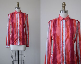 1970s Top - Vintage 70s Vera Neuman Jersey Novelty Print Blouse S M - Autumn Leaf Shirt