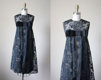 60s Dress - Vintage 1960s Dress - Black Chantilly Lace Nude Illusion Couture A-line Party Dress M L - Black Celebration Dress