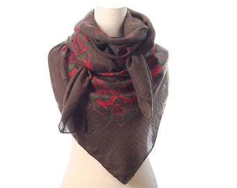 BOHEMIAN Wrap Scarf 90s Boho WOOL Shawl Floral Print Shawl Red Green Brown Extra Large Nomad Neck Wear 52 inch Womens Gift Urban Moms Gift