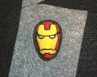 Needle felted  Iron Man brooch pin