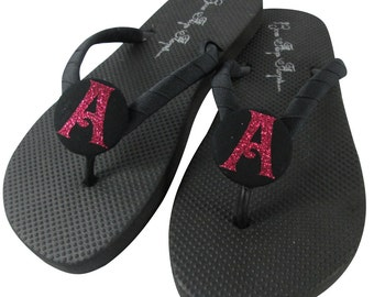 Hot Pink Glitter on Black Bridesmaid Flip Flops - Wedding colors-customizable, personalized- Bling Sandals Shoes for the Bridal Party