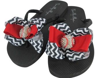 Chevron Flip Flops with Baseball Bling/ Rhinestone Bow/red black / any colors/softball sandals