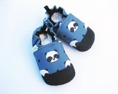 SALE Eco-Canvas Vegan Pandas in Steel Blue / non-slip soft sole baby shoes / made to order / babies toddlers preschool