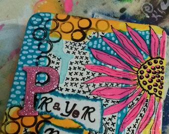 Prayer box altered art fun pink glitter