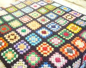 Crochet Granny afghan, multicolors on black, granny square throw, granny square blanket, rec room accessory, big 54x80 inch fireside decor