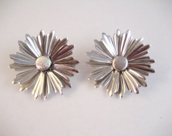 "1969 Sarah Coventry silver tone ""Sunflower"" earrings. Clip ons. 1 5/8""  Large. Signed."