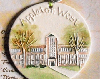 Appleton West Ceramic-Watercolor Ornament for wall or tree plus free gift wrap, original, 100% handmade