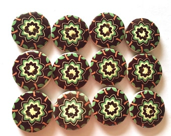 12  pcs Cute boho flower Wood button 2 holes size 25 mm