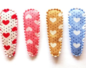 25 pcs - Cute Love Heart with Dot Hair Clip COVER - size 40 mm - Mix Colors
