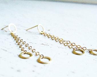 14 Karat Gold Long Earrings / Gold Post Earrings / Gold Handmade Earrings / Long Gold Earrings / Chain Earrings / Bridal Gold Earrings