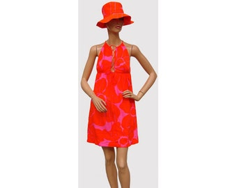 Vintage 1960s Mini Dress with Matching Hat Made in Hawaii XS