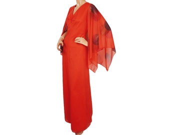 Vintage 1970s Red Nylon Maxi Dress - Polka Dot Angel Wing Sleeves - M