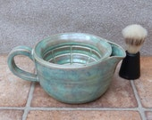 Large shaving scuttle shave bowl hand thrown in stoneware