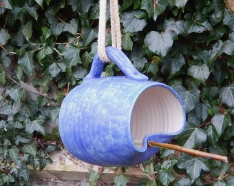 Bird feeder mug hand thrown in stoneware--fully weatherproof