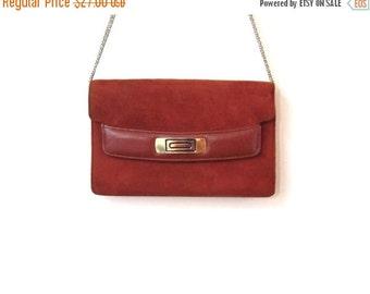 BTS SALE Vintage 70s TOASTED Caramel Brown Suede Leather Clutch Shoulder Purse
