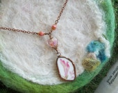 Broken China Necklace with Handmade Bezel and Copper Chain, Pink Foliage