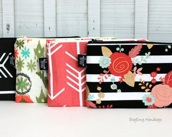 BagEnvy Handbags - Zippered Clutch / Pouch - Make Up Bag -  Choose Your Fabric - Arrows - Ikat - Floral Stripes