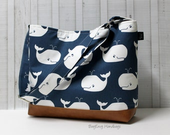 Nautical Navy Whales with Vegan Leather - Messenger Tote Bag /  Diaper Bag -  Medium / Large Bag SALE