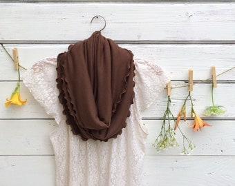 Infinity Scarf, Jersey Infinity Scarf, Dark Brown Scarf, Ruffled Jersey Scarf, Circle Scarf, Winter Scarf, Winter Accessories, Gift Idea