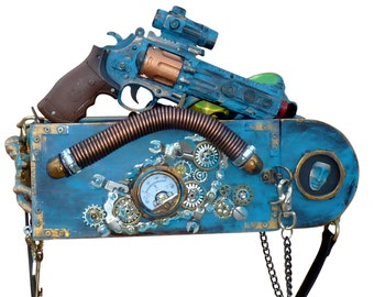 Steampunk Antique style Clutch Purse Gothic Pirate Victorian  BOX Toy Gun Goggles Custom