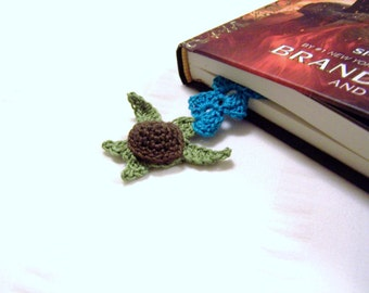 For book lovers crochet bookmark with sea turtle book mark is 9 inch