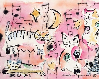 Original Art Waikiki Cats