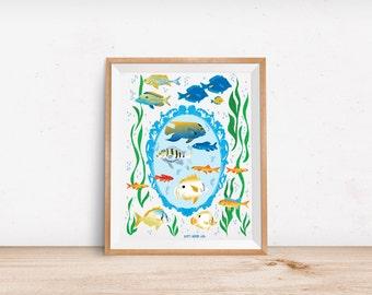 Art Print: Coral Reef Fish