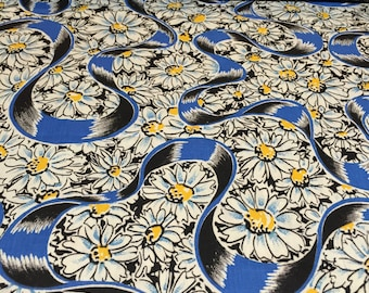 40s Blue Romantic Ribbons Float through Yellow Button Daisies on Black Ground//All Cotton//