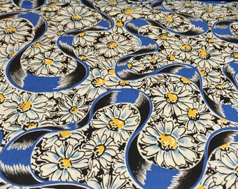 50s Blue Romantic Ribbons Float through Yellow Button Daisies on Black Ground//All Cotton//