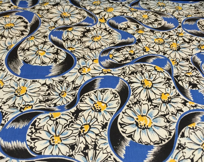 Featured listing image: 50s Blue Romantic Ribbons Float through Yellow Button Daisies on Black Ground//All Cotton//