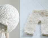 Newborn Hat and Pants Set in Cable Stitch