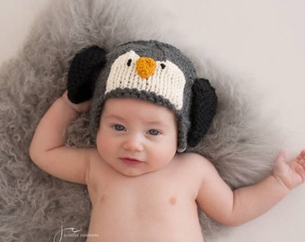 Penguin Hat, Animal Hat for Kids, Photo Prop Hat, Hat with Ears, Penguin Baby