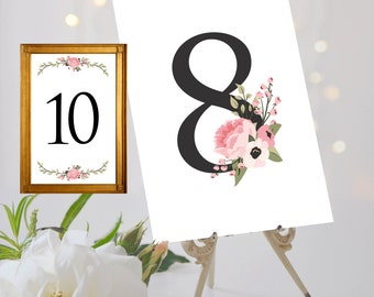 Table Number Signs ~ Wedding ~ Soft Pink and Green Flower Design ~ Single sided ~ Peonies and Poppies ~ Table Numbers