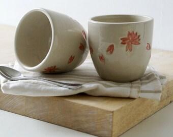 Hanami tea beakers - simply clay handmade floral pattern cups