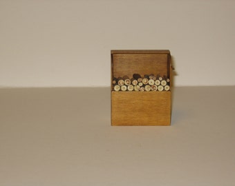 Shaker Wood Box with Wood in pine stain - 1/12th scale