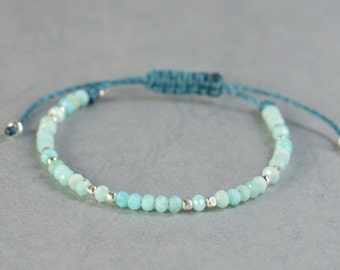 Amazonite and silver bracelet.Silver Thread Bracelet, Friendship Bracelet ,Sterling Silver Friendship Bracelet,Cord Bracelet