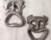Vintage Theatre Masks, Comedy and Tragedy, 1960s, Wall Hanging