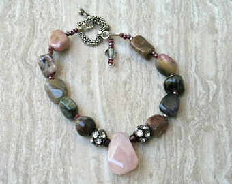 Rose quartz, heart chakra, raw tourmaline bead, mixed stones, gemstone bracelet, Crystal accent jewelry, focal bead, raw beads, chunky