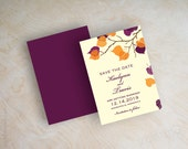 Orange and purple leaf save the dates, fall, autumn save the date magnet, branch save the date postcard, outdoor leaves, eggplant, Serena