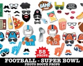 Football Photo Booth Props - Super Bowl Party- Playoffs - Panters AND Broncos - Football Party - Instant Download PDF 58 DIY Printable Props