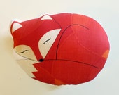 Fox Pillow Plush Sleeping Fox Woodland Nursery Decor Ready to Ship