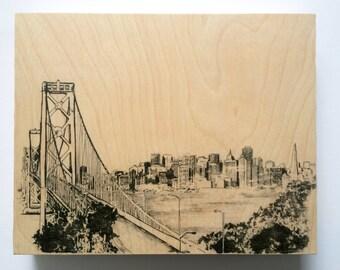 Wood Wall Art Panel San Francisco Skyline Cityscape Art on Wood Customize Colors And Size San Francisco Art Cityscape Skyline On Wood Panel