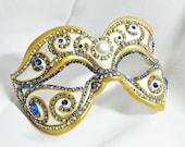 CUSTOM Masquerade Mask - Rhinestone Mask - Blue and White - Venetian Mask - Blue Mask - Paper Mache Mask - Ball Mask - Antoinette