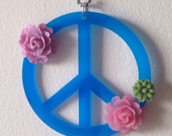 Floral Peace Sign Necklace - Large Laser Cut Acrylic Jewelry with Plastic Flowers Attached - Hippie Jewelry - Boho Chic