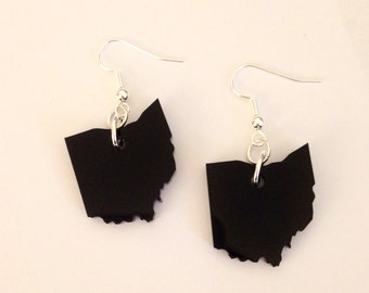 Ohio Shape Earrings in Black Acrylic - State Jewelry - Fall Gift - Moving Gift