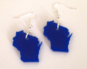 Wisconsin Earrings in Blue, US State Jewelry, Acrylic Jewelry, Wisconsin Shape
